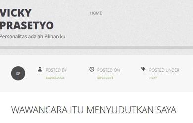 Vicky Prasetyo Tulis Pernyataan Terbuka di Wordpress