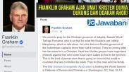 Franklin Graham Ajak Umat Kristen Dunia Dukung dan Doakan Ahok!